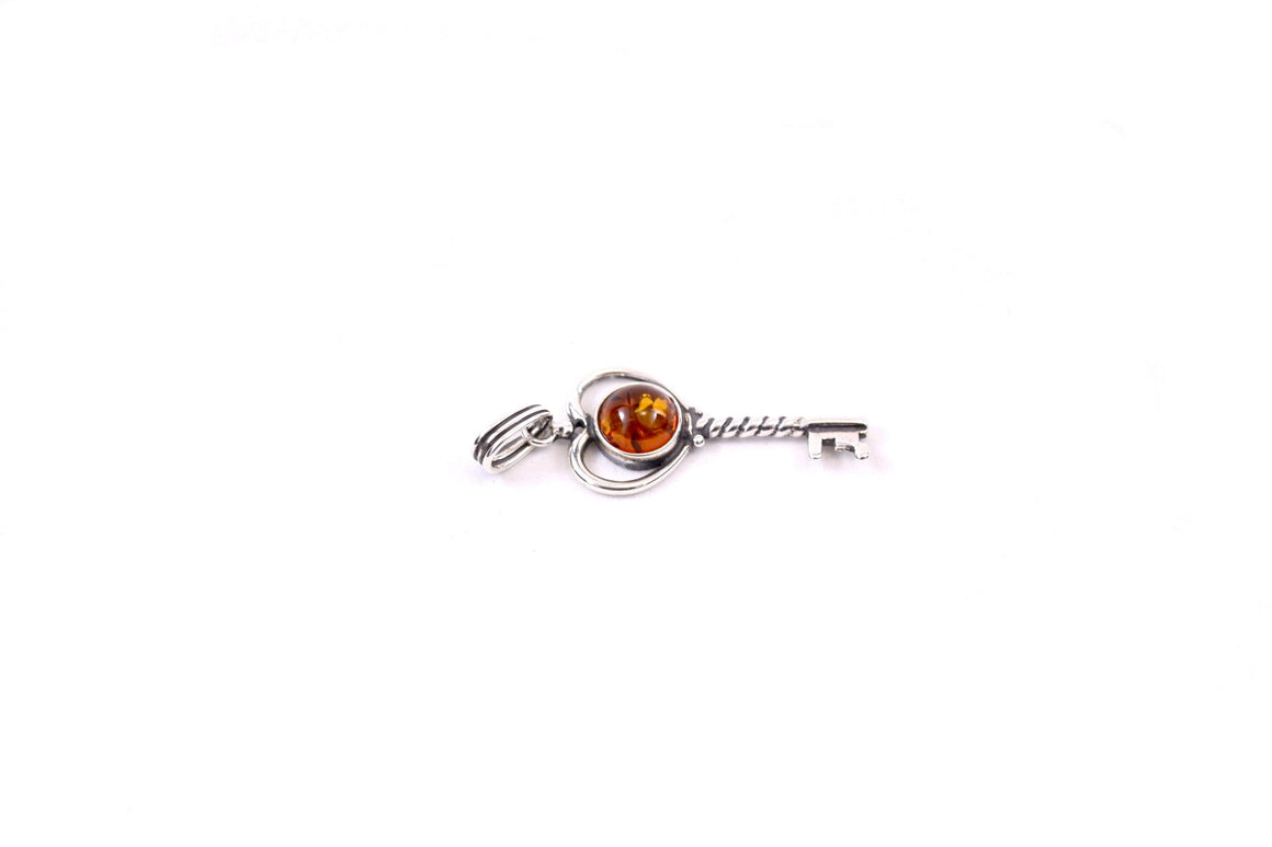 Baltic Amber and Sterling Silver Key Pendant