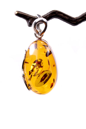 Baltic Amber Drop Pendant with Handmade Sterling Silver Setting scroll detail