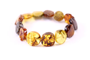 Baltic Amber Multi Round Tablet Bead Bracelet