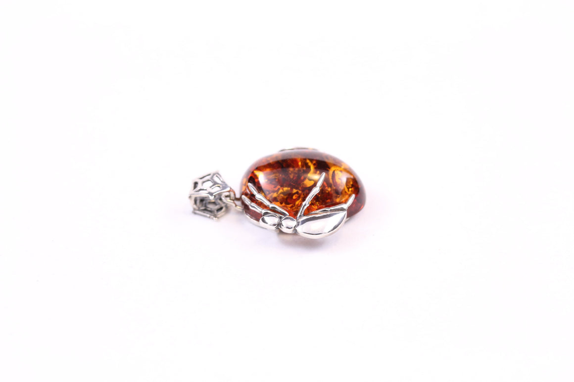 Baltic Amber and Sterling Silver Spider Pendant