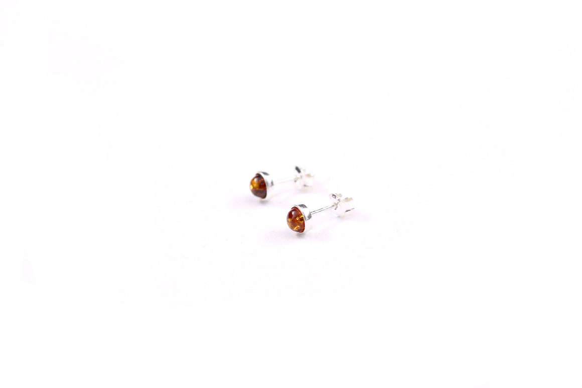 Cognac Baltic Amber and Sterling Silver Bezel Stud Earrings