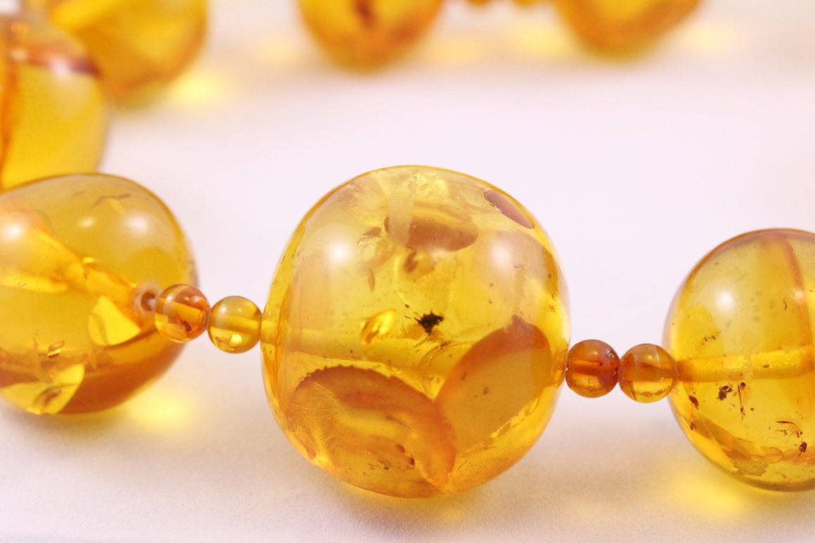 20 - 35mm Round Baltic Amber Bead Necklace with Certificate