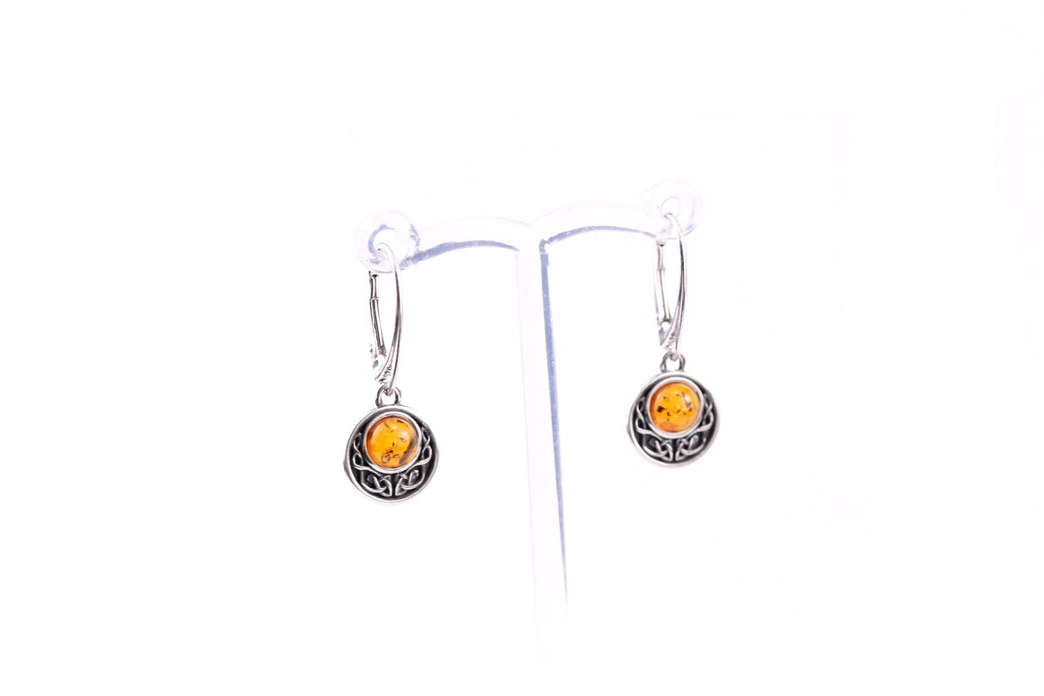 Baltic Amber and Sterling Silver Celtic Knot Earrings