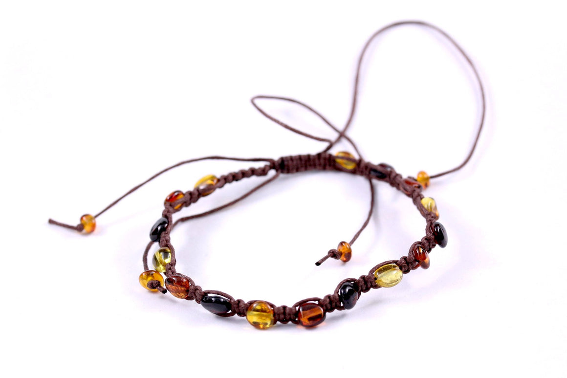 Baltic Amber Adjustable Braided Large Bracelet