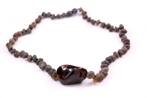 Raw Baltic Amber Necklace with Polished Bead