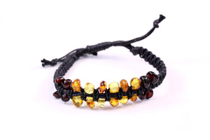 Baltic Amber Bead Adjustable Braided Bracelet