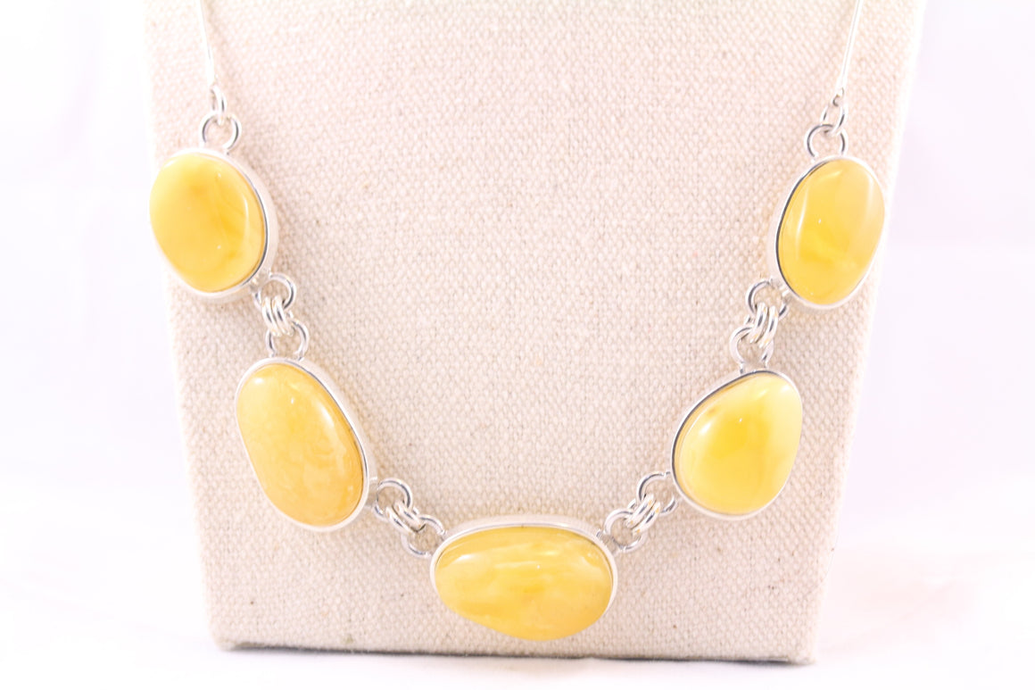 Butterscotch Baltic Amber and Sterling Silver Necklace