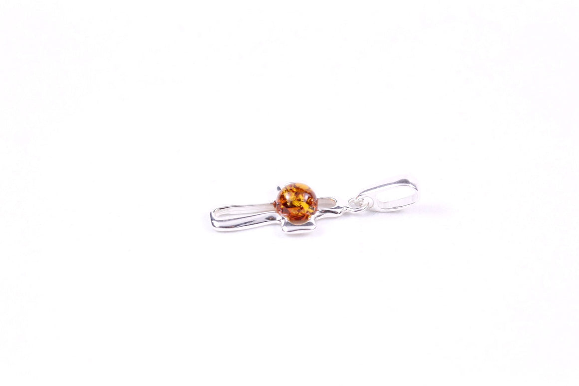 Cognac Baltic Amber and Sterling Silver Small Cross
