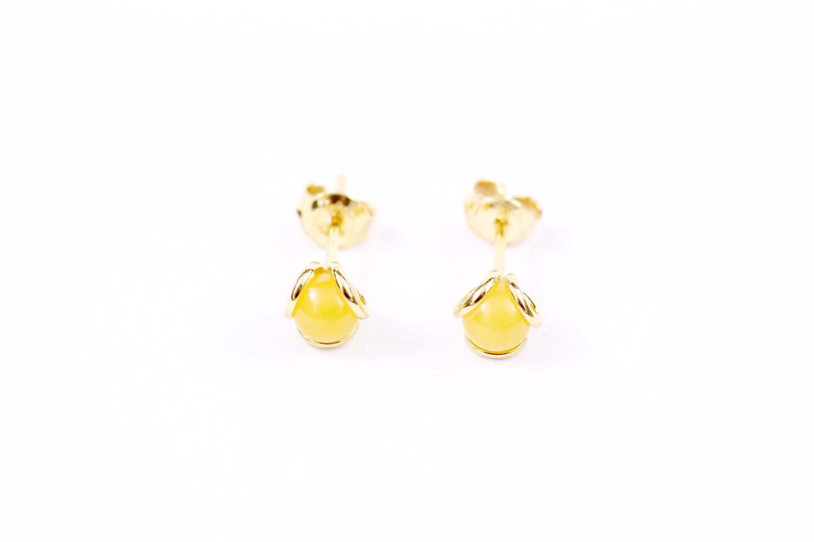 Butterscotch Baltic Amber and Sterling Silver Tri Loop Stud Earrings