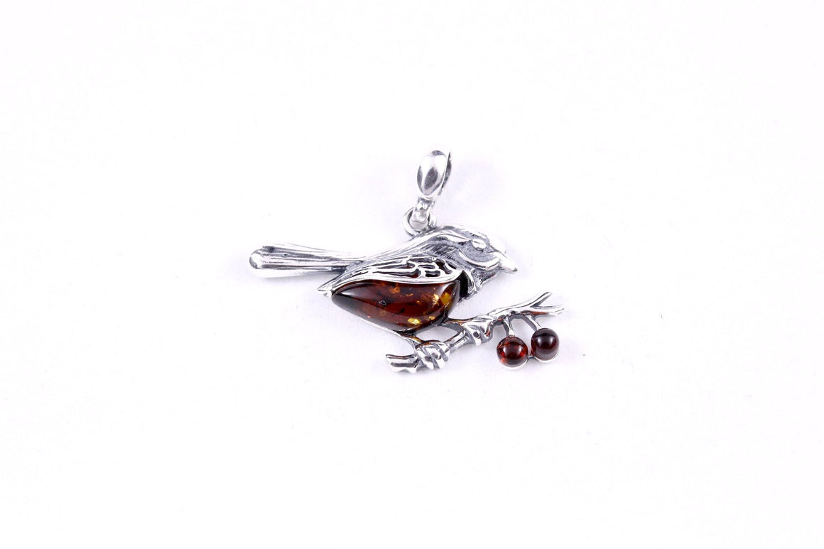 Cognac Baltic Amber and Sterling Silver Bird Pendant
