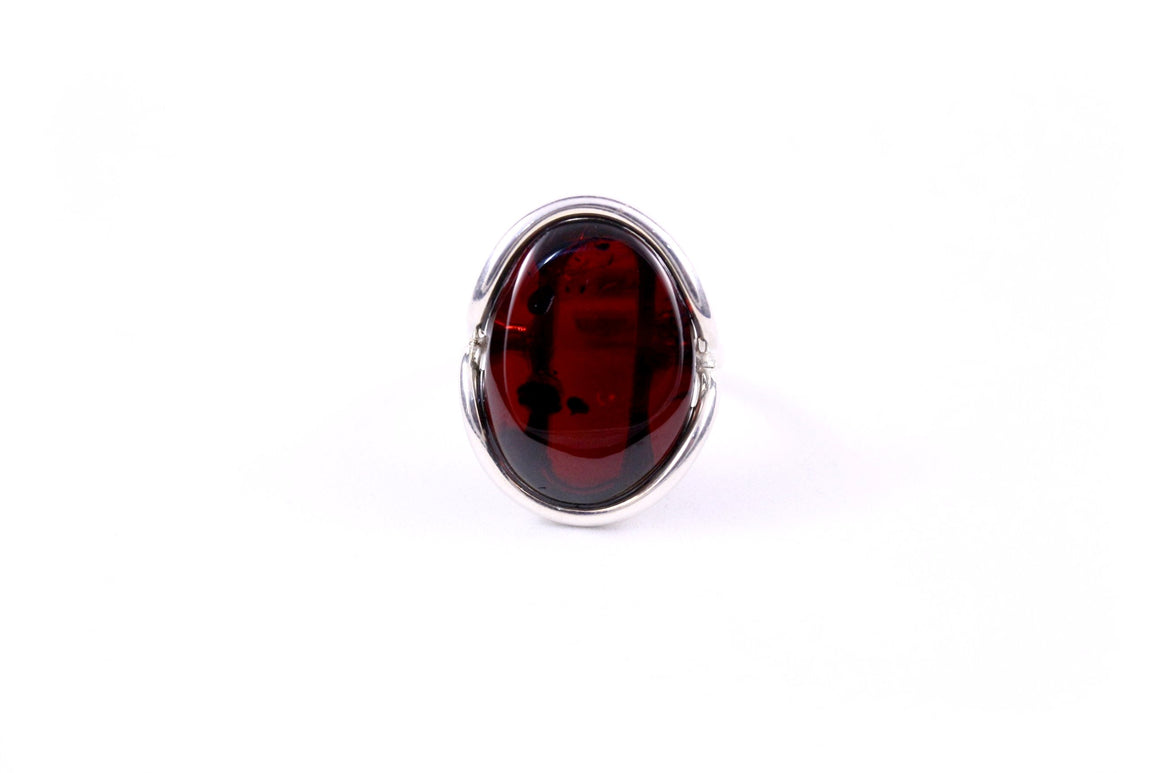 Cherry Baltic Amber and Handmade Sterling Silver Ring