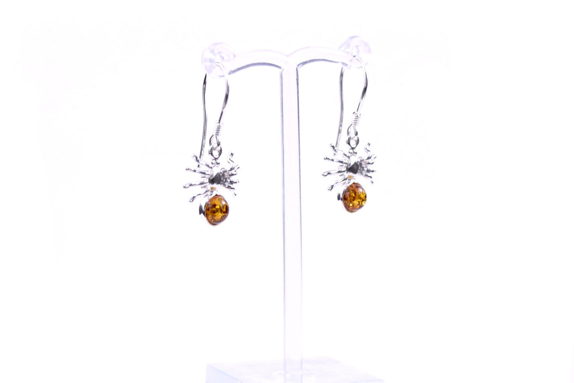 Cognac Baltic Amber and Sterling Silver Spider Earrings front view