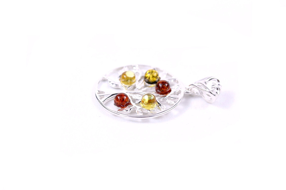 Baltic Amber and Sterling Silver Round Tree of Life Pendant