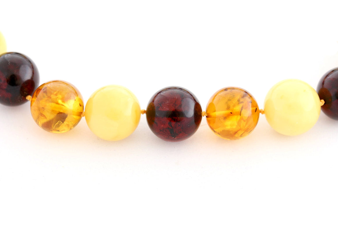 16mm Round Baltic Amber Multi Bead Necklace