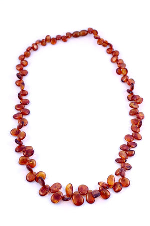Cognac Leaf Baltic Amber Graduated Bead Necklace