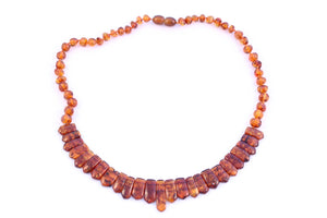 Cognac Baltic Amber Bead Collar Necklace