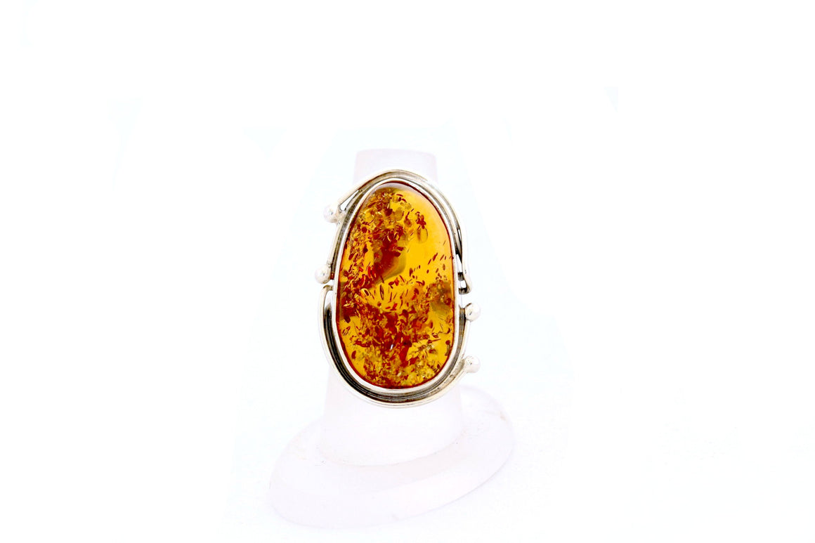 Cognac Baltic Amber and Sterling Silver Adjustable Statement Ring