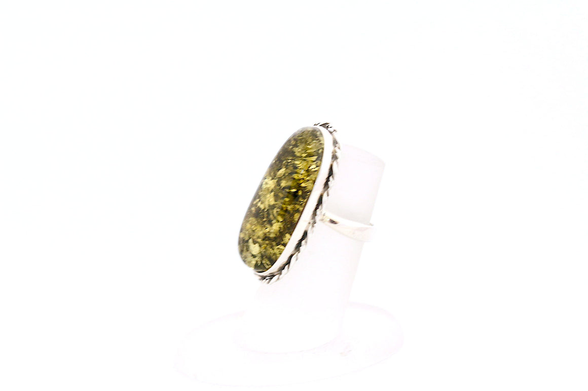 Green Baltic Amber Adjustable Ring with Sterling Silver Twist
