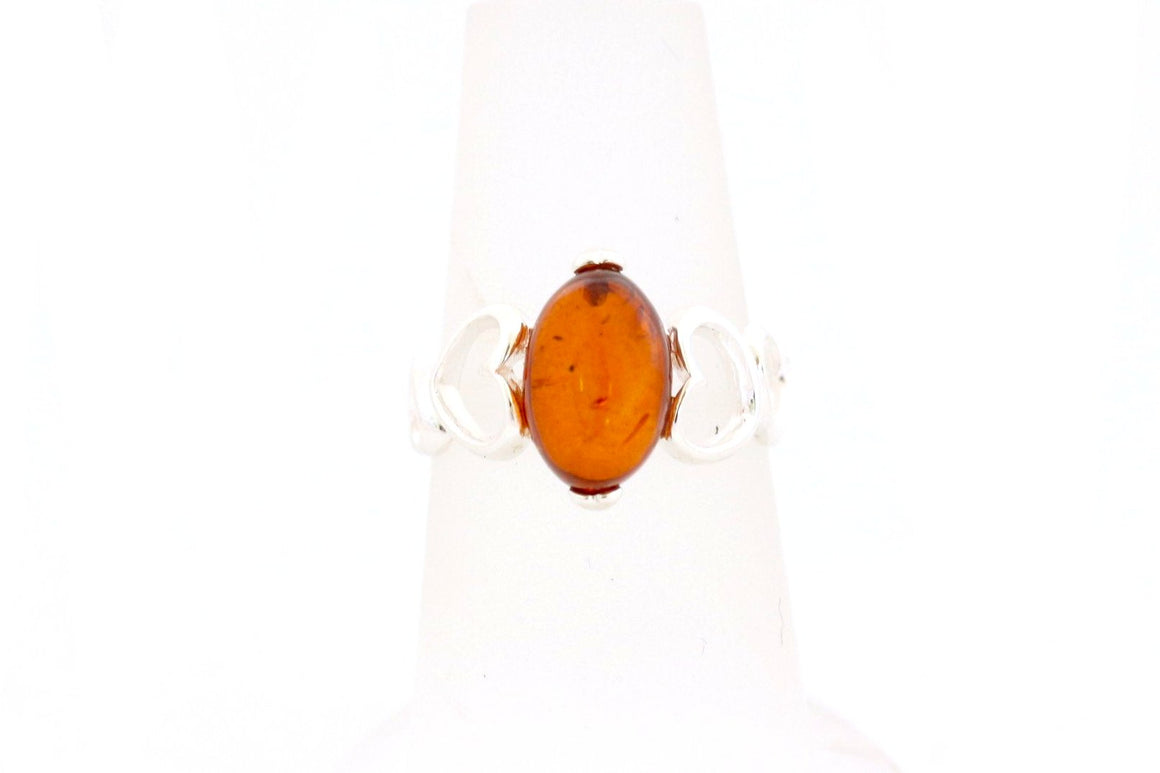 Baltic Amber and Sterling Silver Hearts Ring