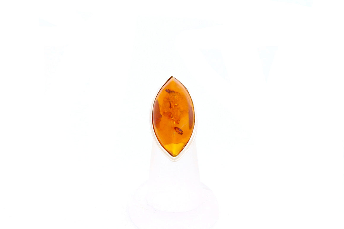 Marquise Baltic Amber and Sterling Silver Ring