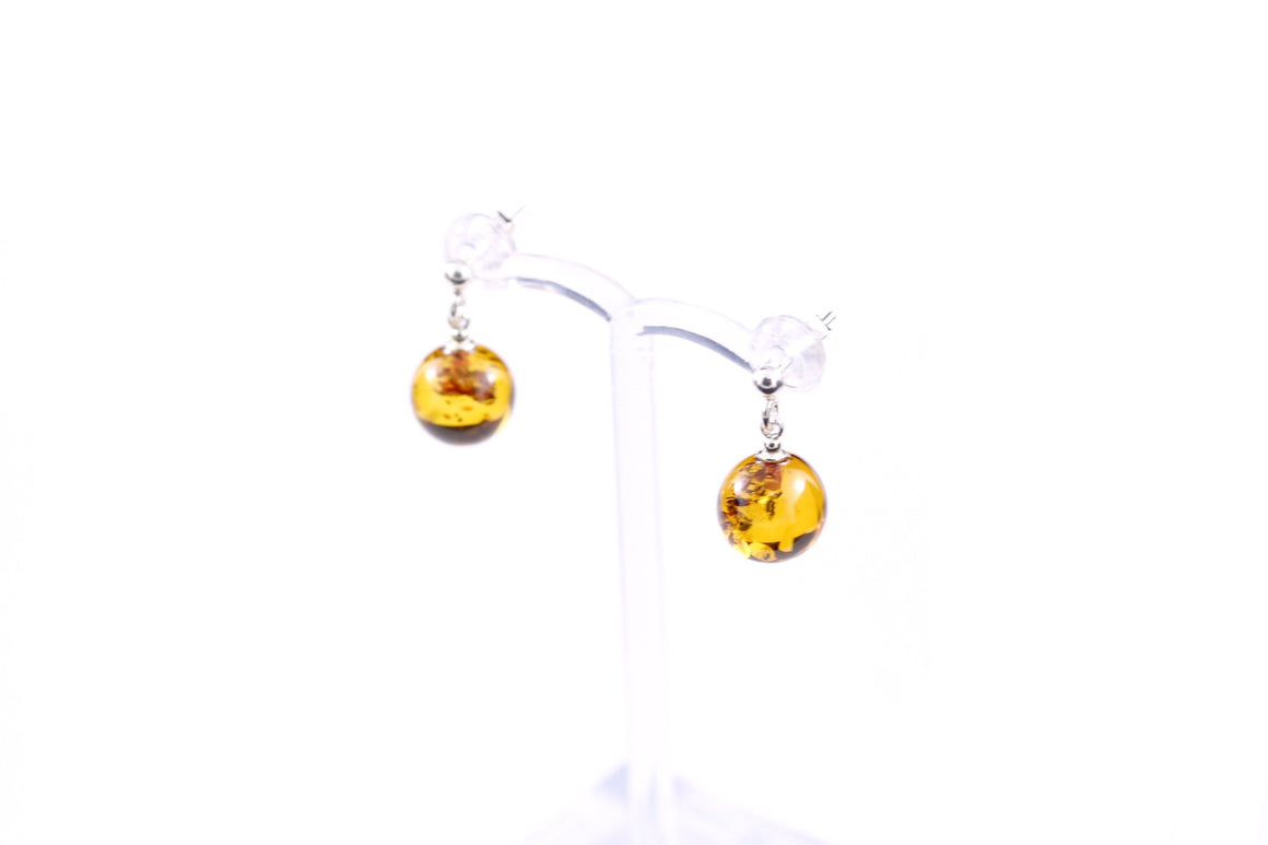 10mm Round Cognac Baltic Amber and Sterling Silver Ball Earrings