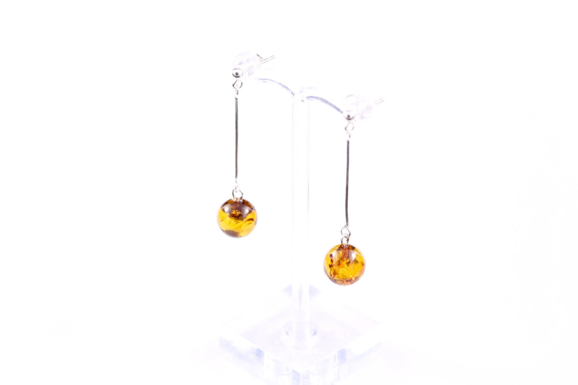 Cognac Baltic Amber Ball and Sterling Silver Earrings