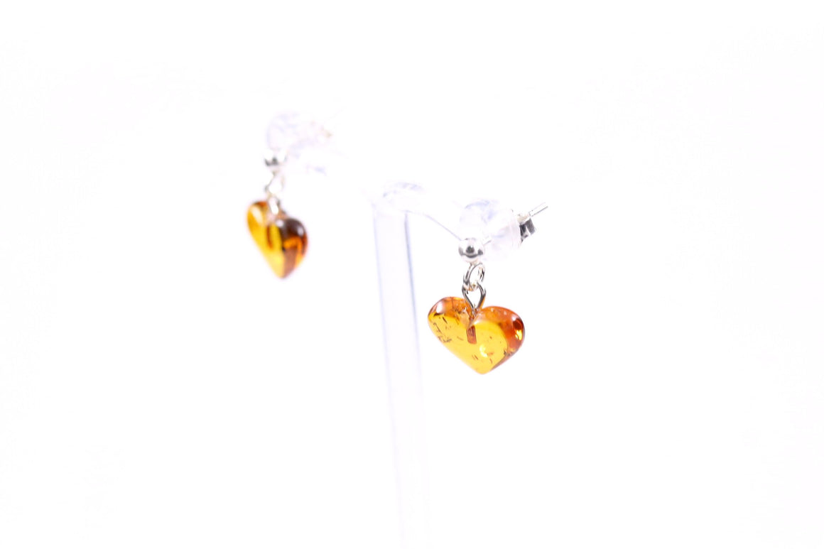 Cognac Baltic Amber Heart Earrings with Sterling Silver