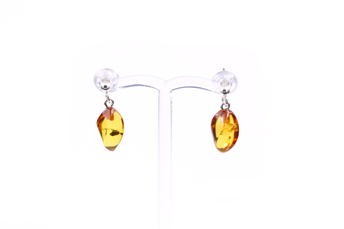 Cognac Baltic Amber and Sterling Silver Swirl Drop Earrings