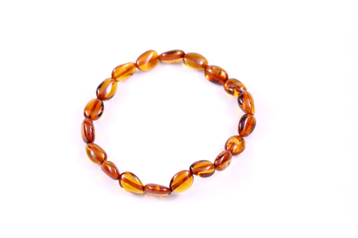 Baltic Amber Cognac Bean Stretch Bracelet