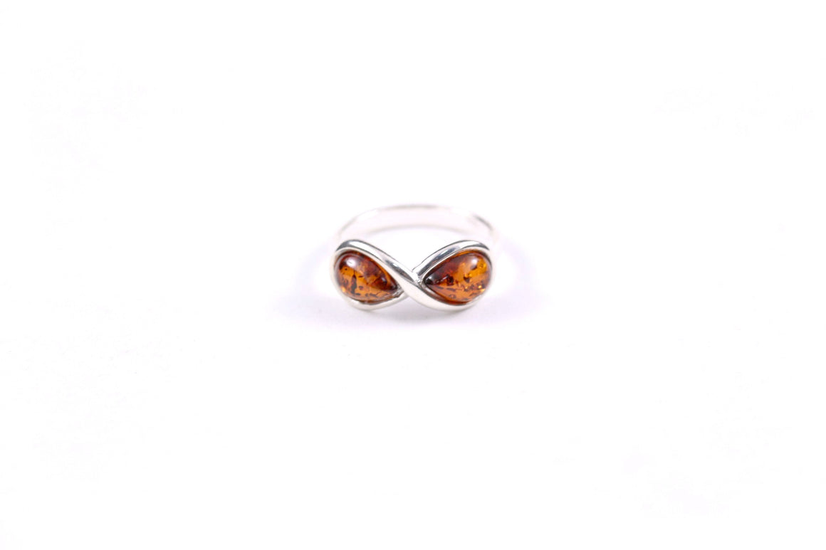 Baltic Amber and Sterling Silver Infinity Ring
