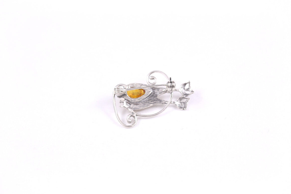 Baltic Amber and Sterling Silver Cat Friends Brooch