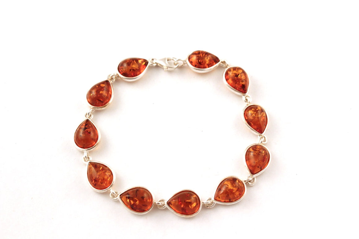 Baltic Amber Drop and Sterling Silver Bracelet - cognac & green amber