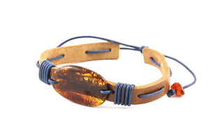 Leather Adjustable Bracelets with Baltic Amber