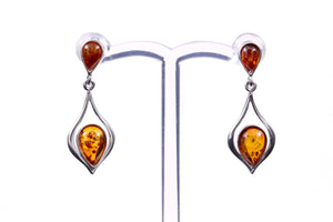 Cognac Baltic Amber and Sterling Silver Drop Earrings