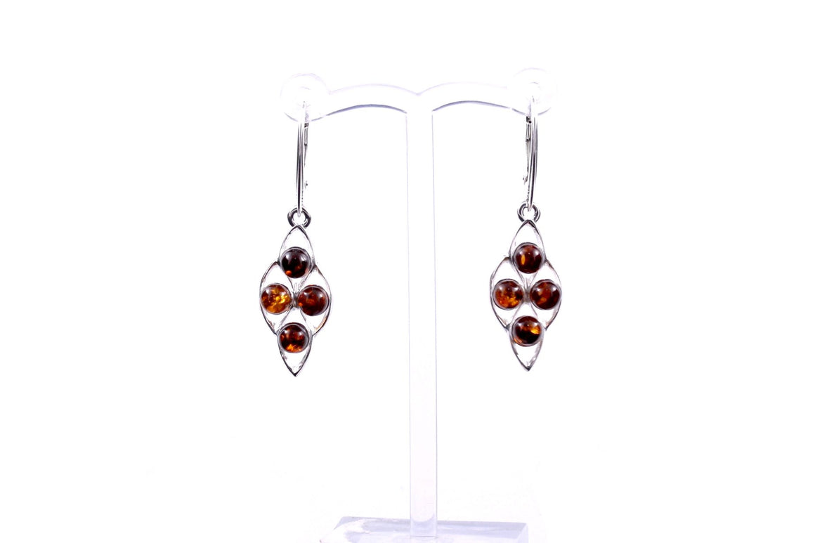 Baltic Amber and Sterling Silver Four Ball Earrings