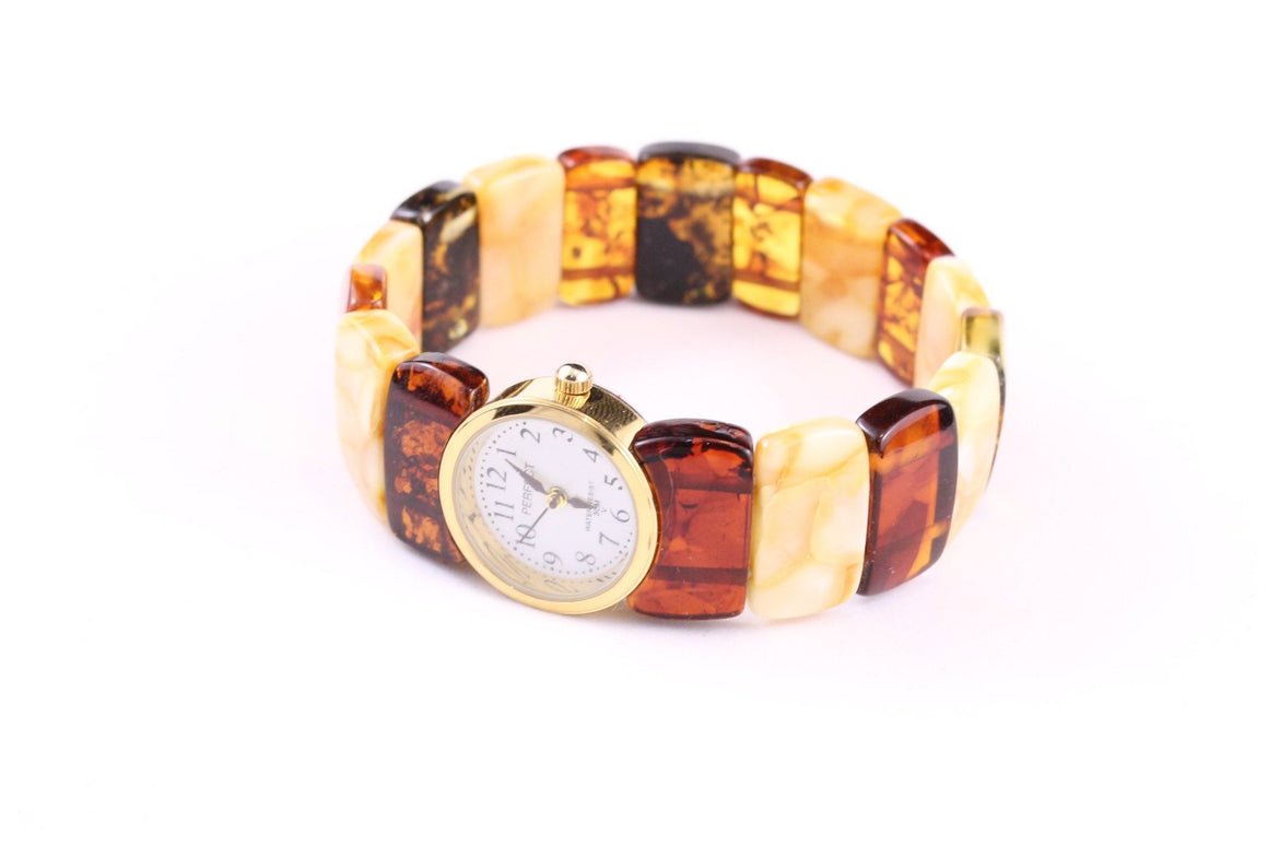 Baltic Amber Watch with Expanding Multi Amber Bracelet
