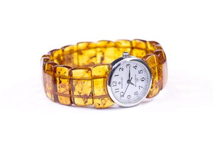 Baltic Amber Watch with Expanding Cognac Amber Bracelet