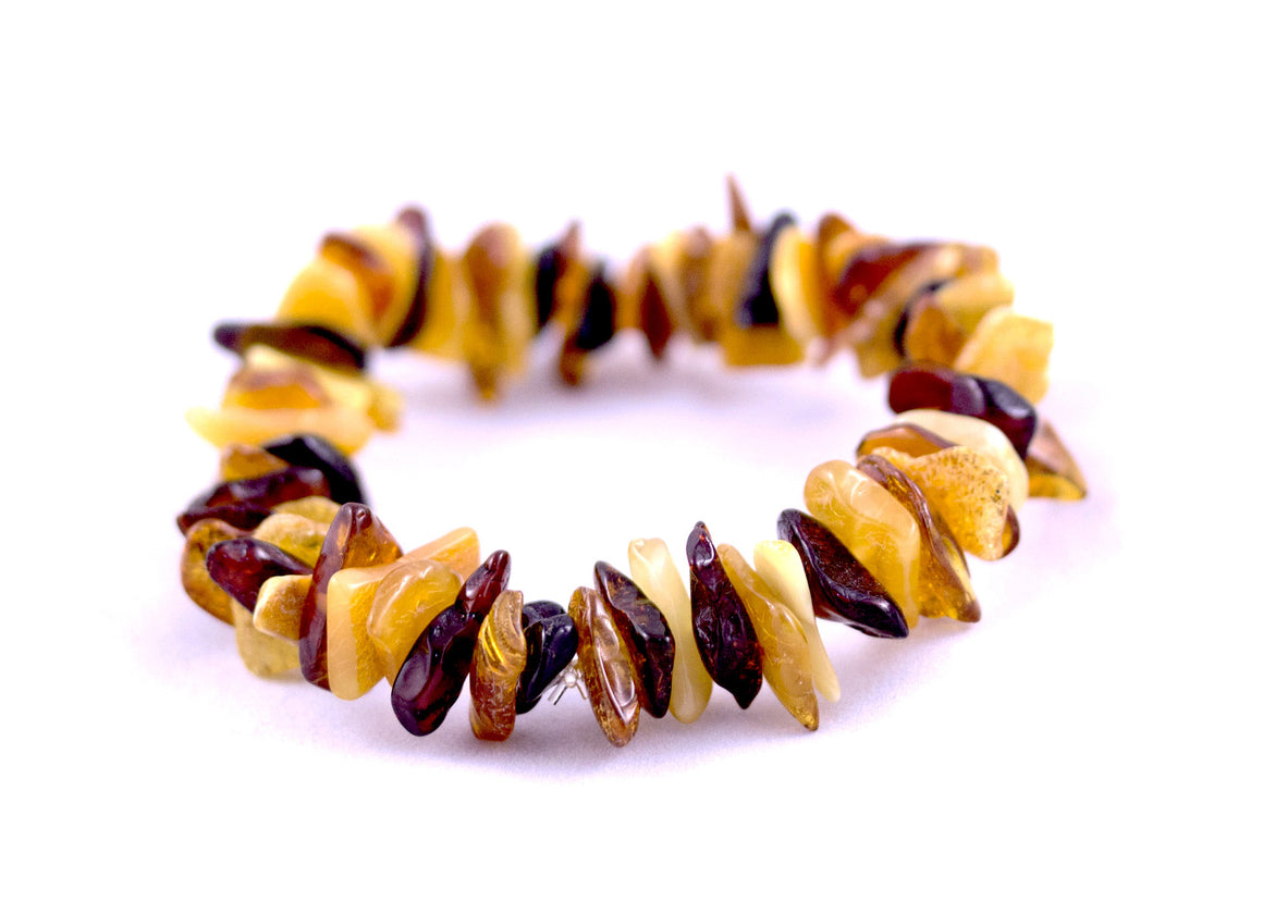 Baltic Amber Chip Stretch Bracelet - natural multi