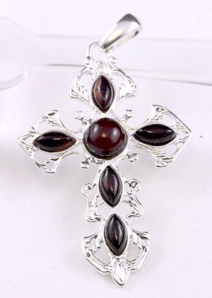Baltic Cherry Amber and Sterling Silver Cross Pendant
