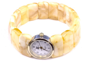 Baltic Amber Watch with Expanding Milky Amber Bracelet
