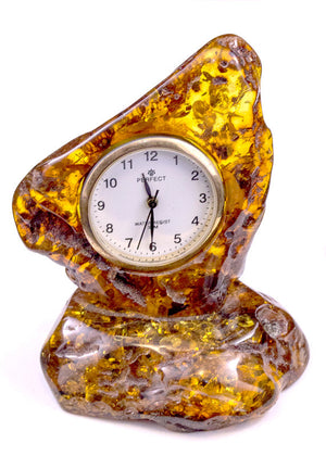 Cognac Baltic Amber Clock with pin