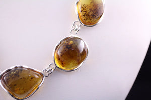 Baltic Amber and Sterling Silver Necklace with Insect