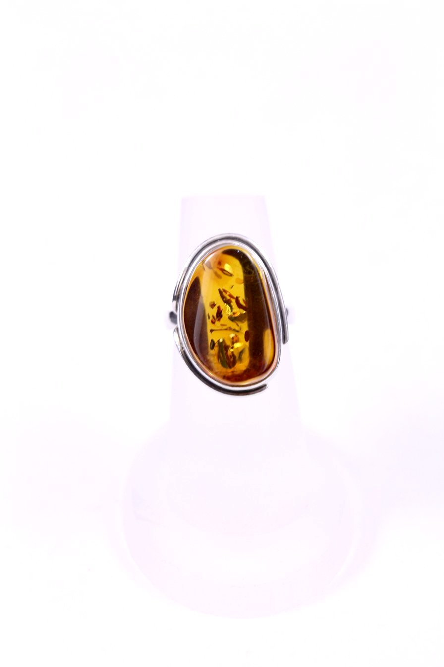 Cognac Baltic Amber Ring with Sterling Silver