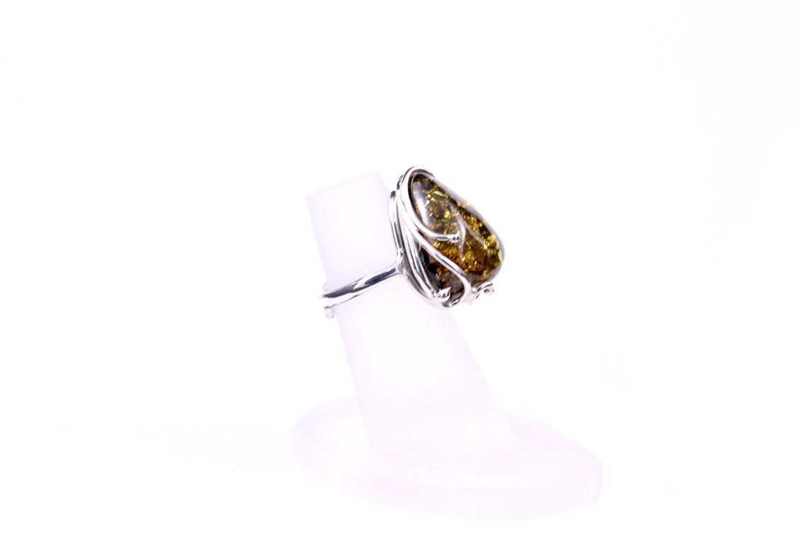 Green Baltic Amber Triangle Adjustable Ring with Sterling Silver