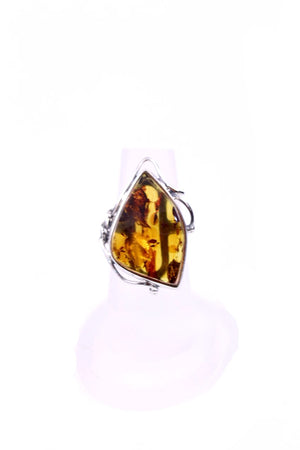 Cognac Baltic Amber and Sterling Silver Statement Ring front view