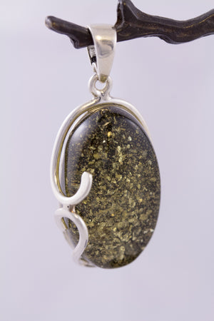 Green Baltic Amber and Swirled Sterling Silver Confetti Pendant