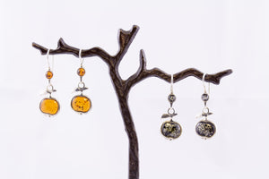 Baltic Amber Apple Earrings - Pick from green or cognac