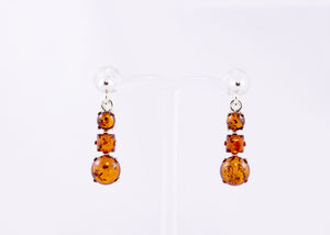 Cognac Baltic Amber and Sterling Silver Triple Drop Earrings