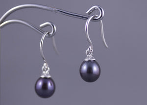 White freshwater pearl & sterling silver earrings
