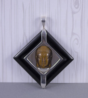 Tiger-Eye Carved Buddha Pendant in Sterling Silver and Onyx